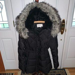 BCBG Black Fur Lined Puffer Winter Coat
